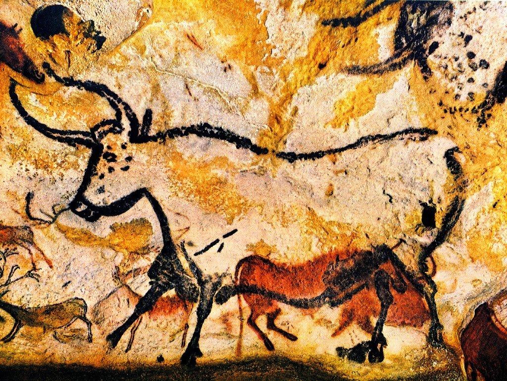 Desenhos nas cavernas de Lascaux na França