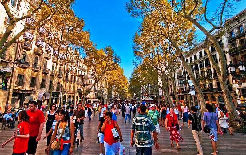 Rua La Rambla em Barcelona