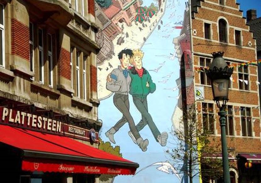 Desenho de quadrinho em prédio de Bruxelas