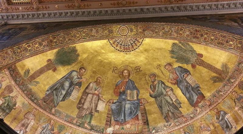 Pintura no interior da Basílica de São Paulo Extramuros em Roma