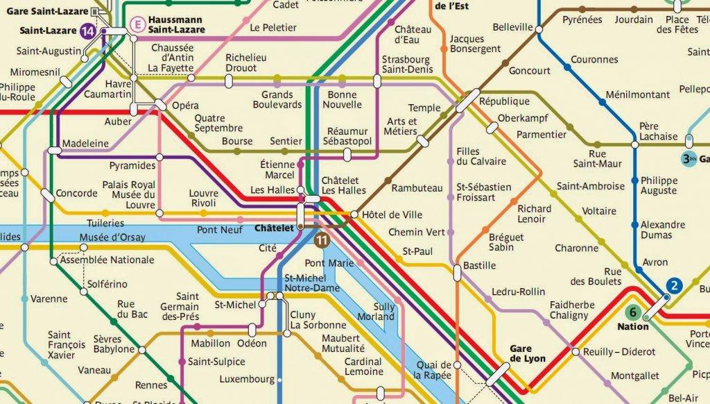 Mapa do metrô em Paris