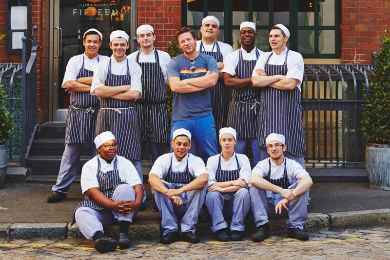Jamie Oliver no Restaurante Fifteen em Londres