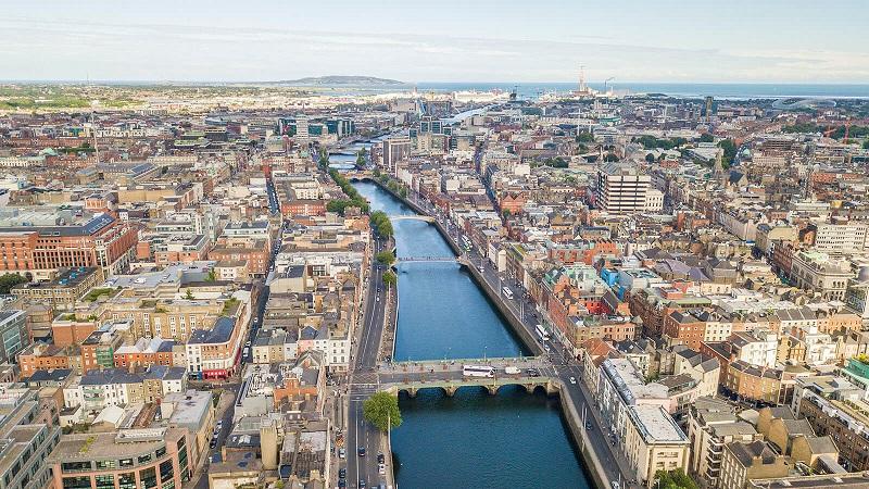 Vista da cidade de Dublin