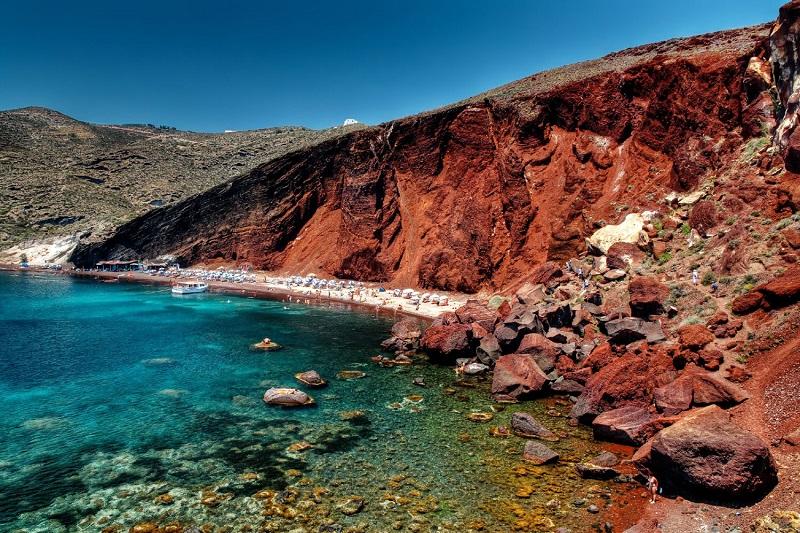 Red Beach na ilha de Santorini