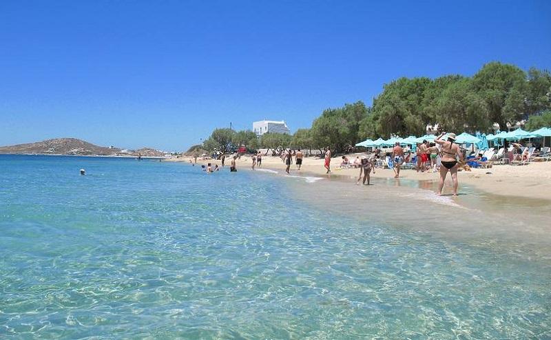 Praia Agia Anna na ilha de Naxos