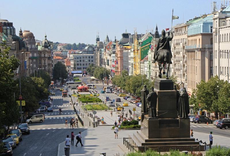 Praça Venceslau (Václavské náměstí) em Praga
