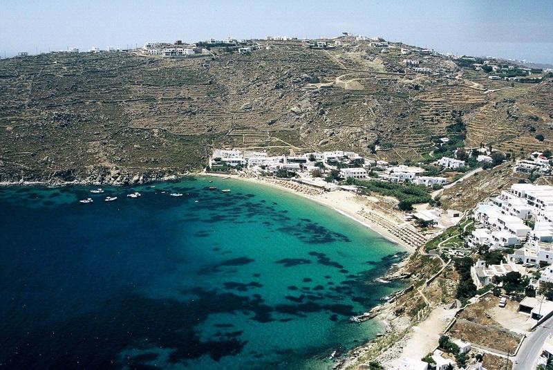 Praia Psarou na ilha de Mykonos