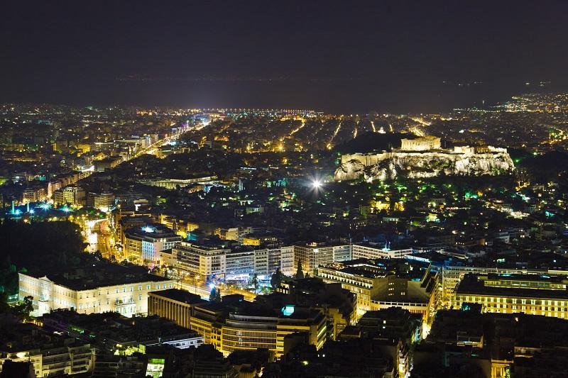 Cidade de Atenas de noite