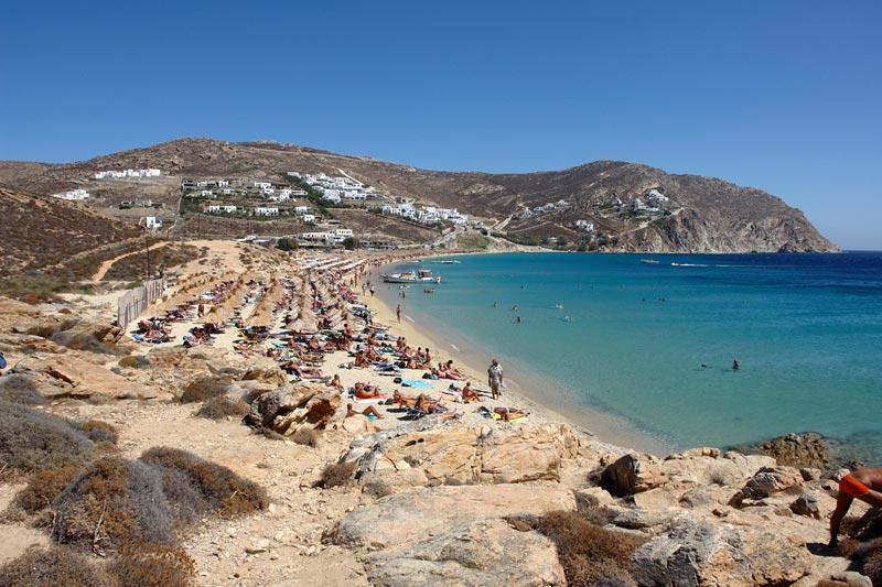 Praia Elia em Mykonos