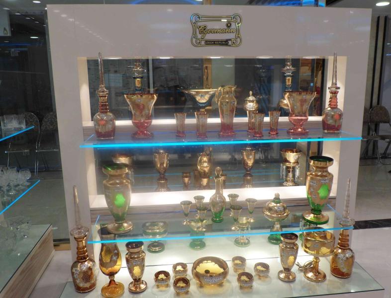 Produtos de cristal na Cidade Velha em Praga