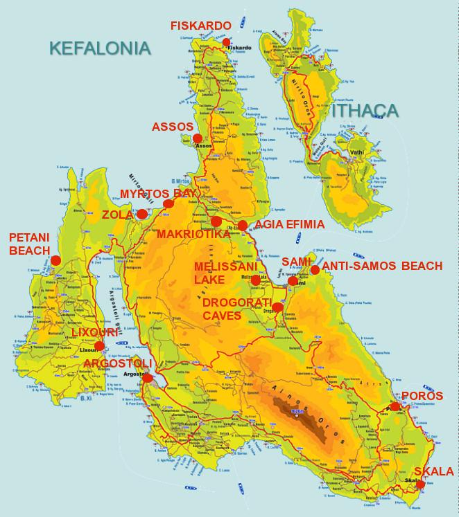 Mapa das regiões de Cefalônia