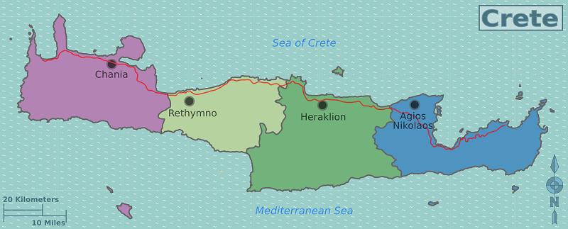 Mapa das regiões de Creta