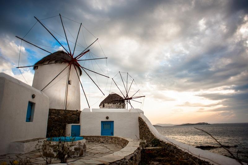 Moinhos na ilha de Mykonos