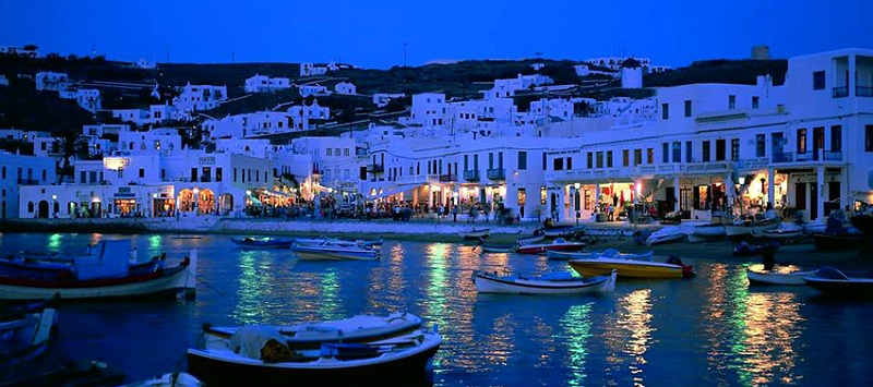 Noite na ilha de Mykonos