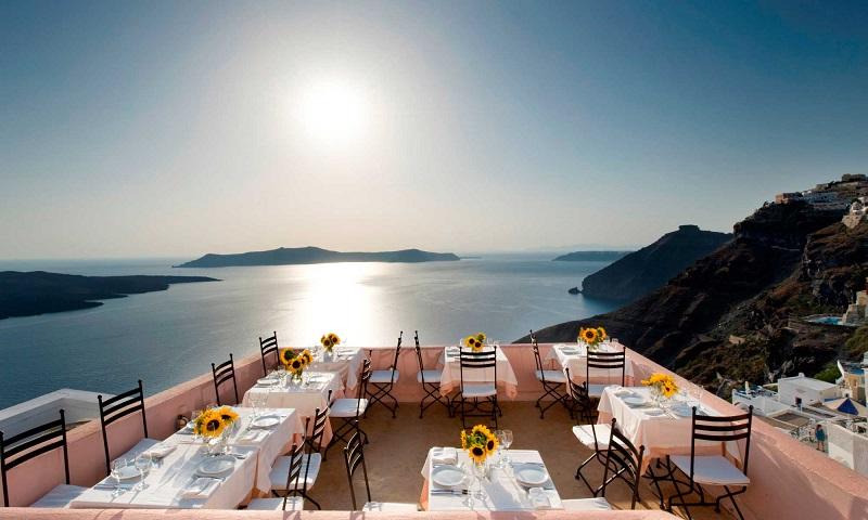 Restaurantes na ilha de Santorini   Grécia