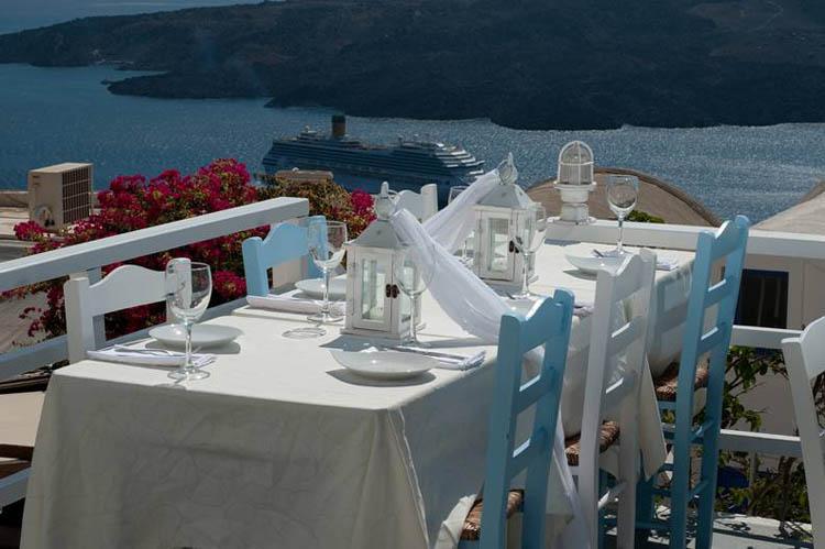 Restaurante Argo na ilha de Santorini