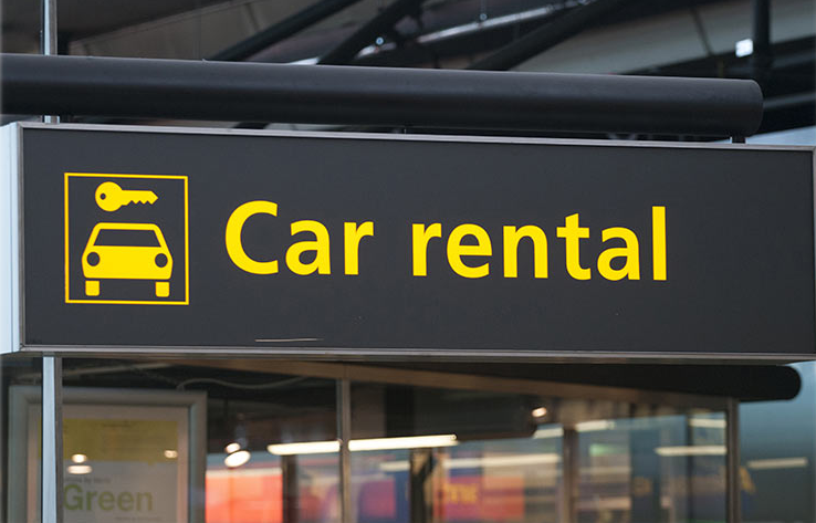 Placa indicando aluguel de carro