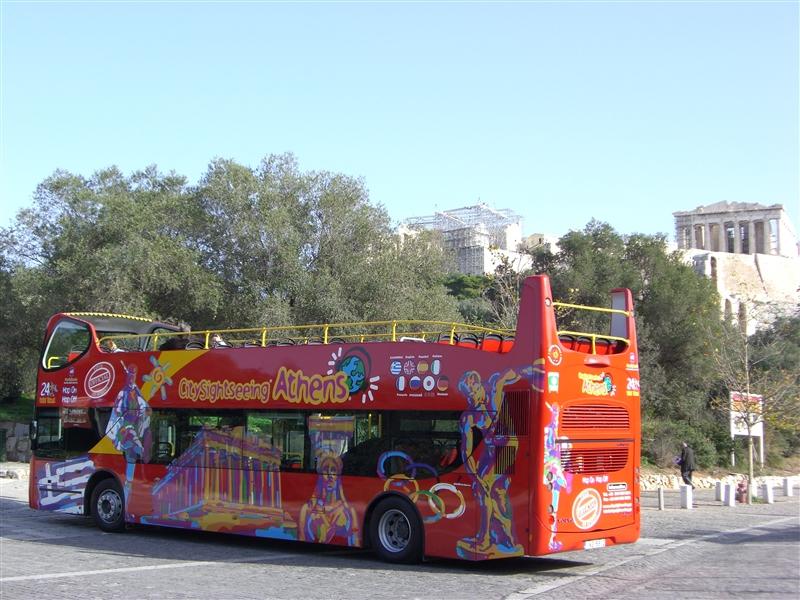 Ônibus turístico panorâmico em Atenas