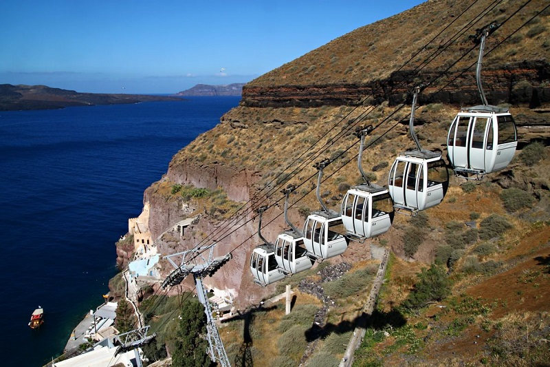 Teleférico em Fira em Santorini
