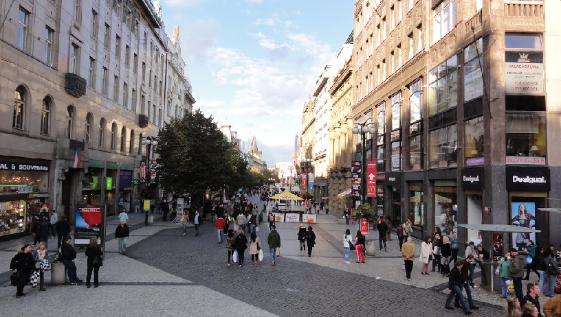 Rua Na Příkopě em Praga