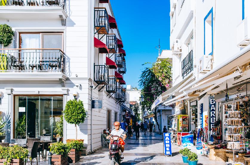 Ruas em Bodrum na Turquia