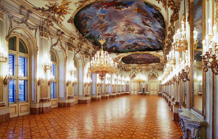 Interior do Palácio de Schonbrunn em Viena