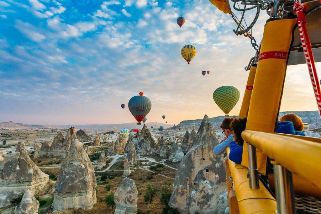 Voar de balão na Capadócia na Turquia